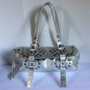 Steve Madden Metallic Silver Leather Shoulder Bag